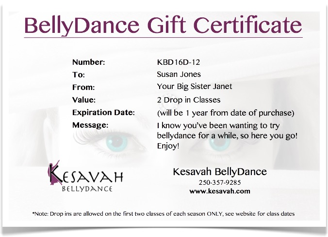Belly Dance Gift Certificate with Eyes in the background