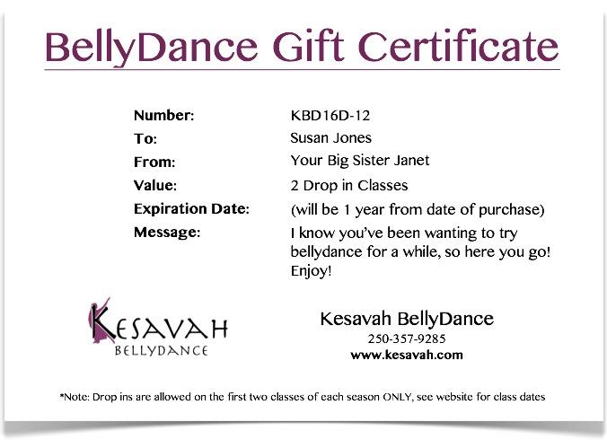 Belly Dancing Gift Certificate Plain